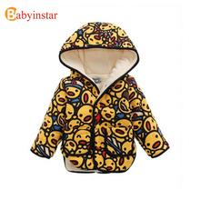 Fashion 2016 Children Coat Long Sleeve Hooded Cute Cartoon Duck Thick Berber Fleece Kids Jacket Coat