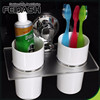 Wall Stick Plastic Hanging toothbrush holders with chromed plate suction cup