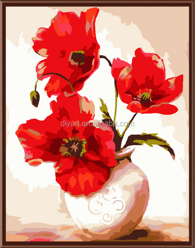40*50 framed flower diy oil painting by number paintboy brand