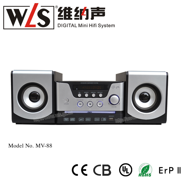 China hot selling mini dvd player with usb port and high quality wooden speaker