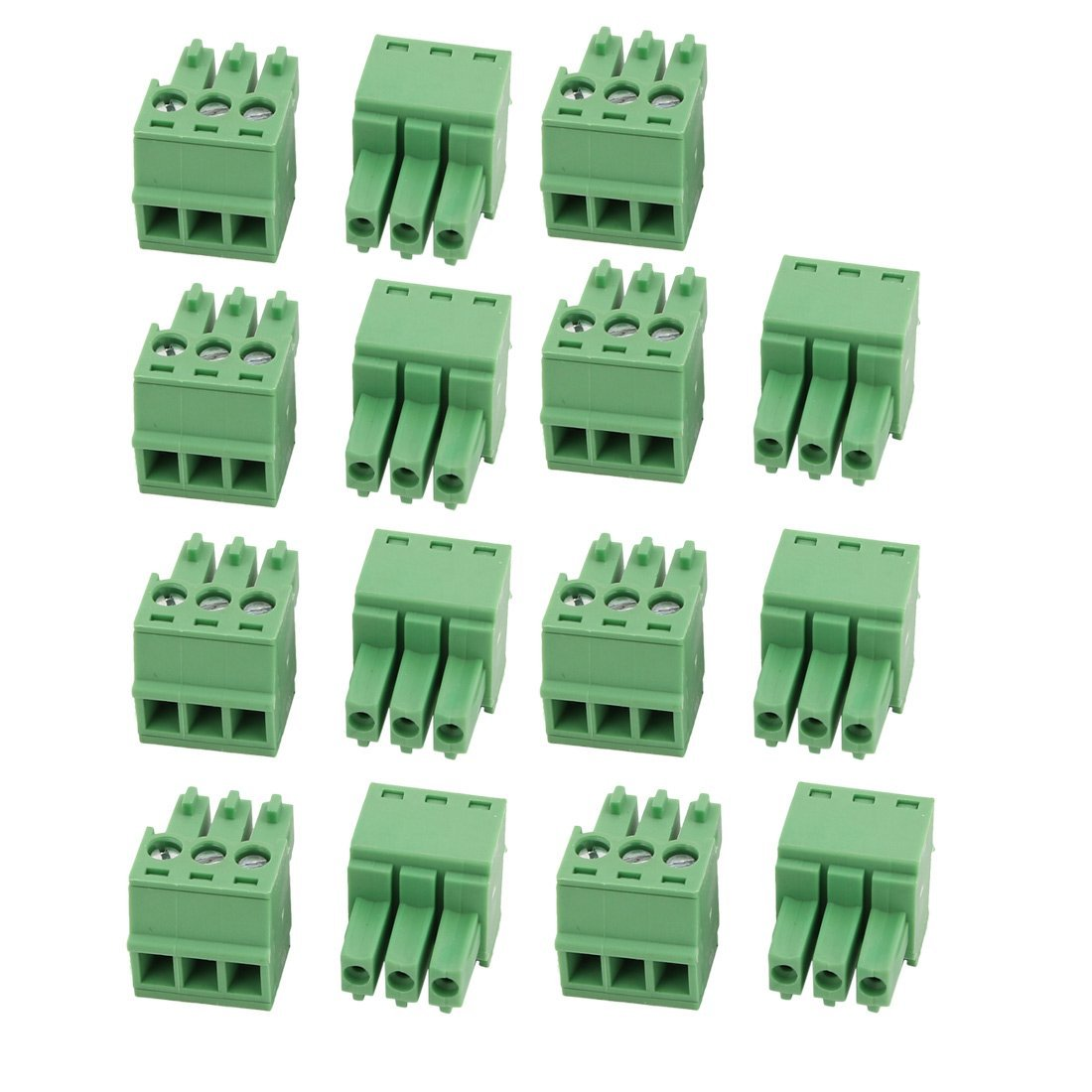 uxcell 15 Pcs LC1 AC300V 8A 3.5mm Pitch 3P PCB Mount Terminal Block Wire Connector