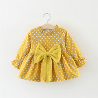 Wholesale Boutique baby dresses fall winter long sleeve bow Thicken little girl dress