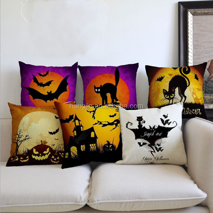 Halloween Terror Pumpkin Lamp Series Holiday Atmosphere Pattern Sofa Decoration Linen Cushion Cover