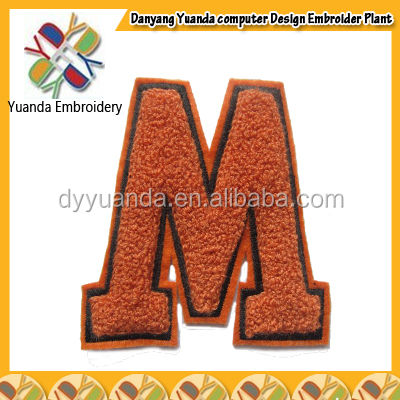 custom embroidered orange iron on cut twill chenille number letters in different colors