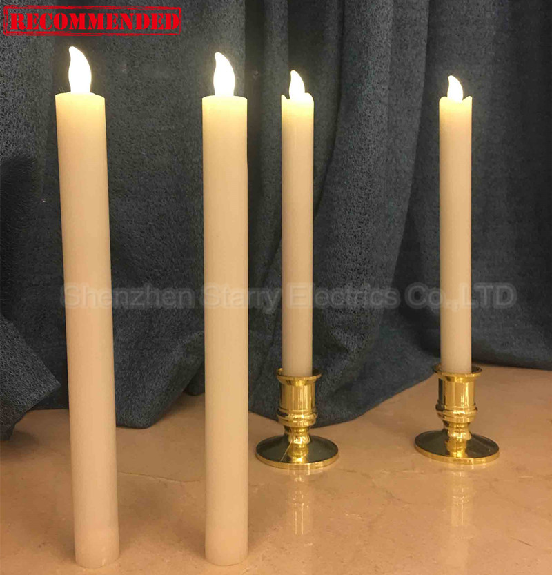 Press on off wax led taper candle flicker
