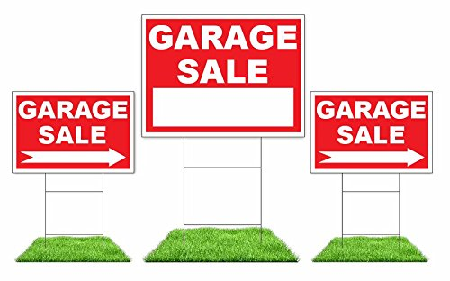 """3-Pack Garage Sale Sign Kit - Double Sided Signs & H-Stakes - Red Property Signs 18"""" X 24"""" and 12"""" X 18"""" – Multi-Family or Single Family Garage Sales – High Visibility Signs with Directional Arrows"""