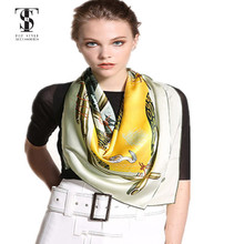 Factory custom new design high quality digital printed silk satin scarf for women