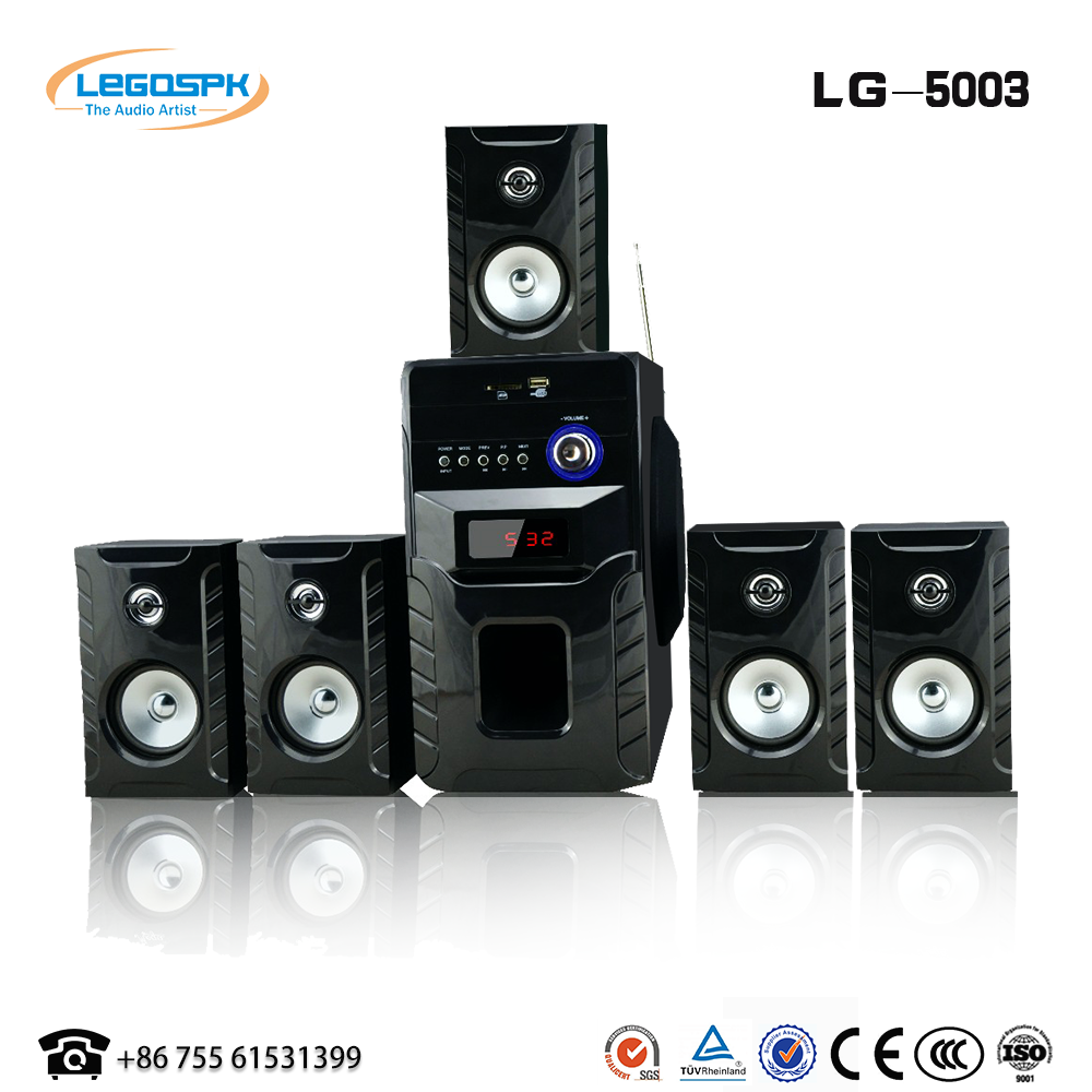 High quality professional 5.1 home theater speaker with usb sd fm remote and microphone