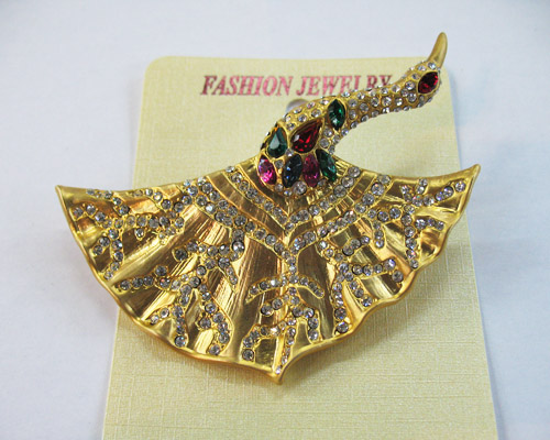 New Dancing Peacock Brooth Pin Alloy Acryl Czechic Rhinestone