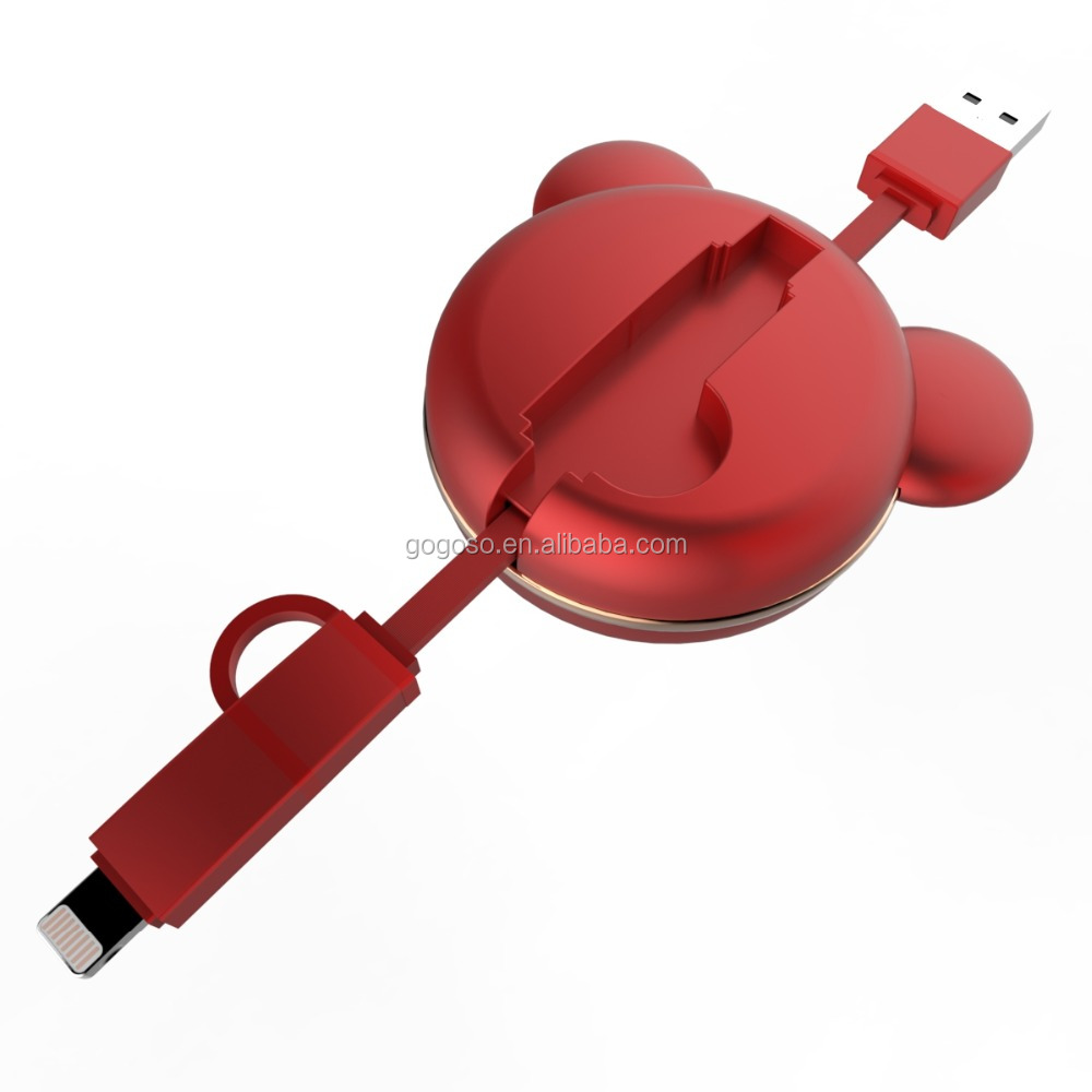 Quick Charging Data Cable Retractable 2 in 1 Cable for USB and IOS Devices