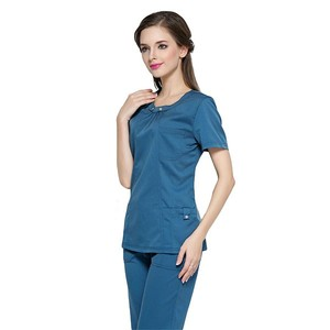Solid color medical scrub uniform women hospital uniform