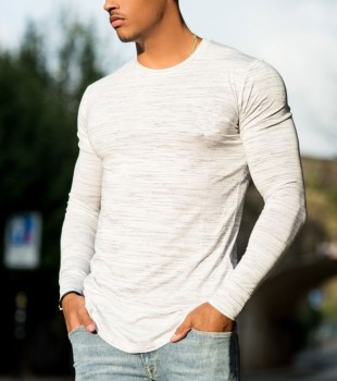 KY wholesale men crew neck long sleeve slim fit gym wear 95 cotton 5 spandex custom dry fit fitness sports t-shirt clothing