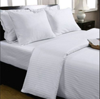 Bleached white bedding set material satin striped fabric roll