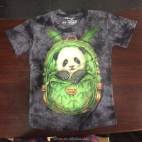 100% cotton 180 grams 3d animals tie dye printing round neck hiphop t shirts custom factory