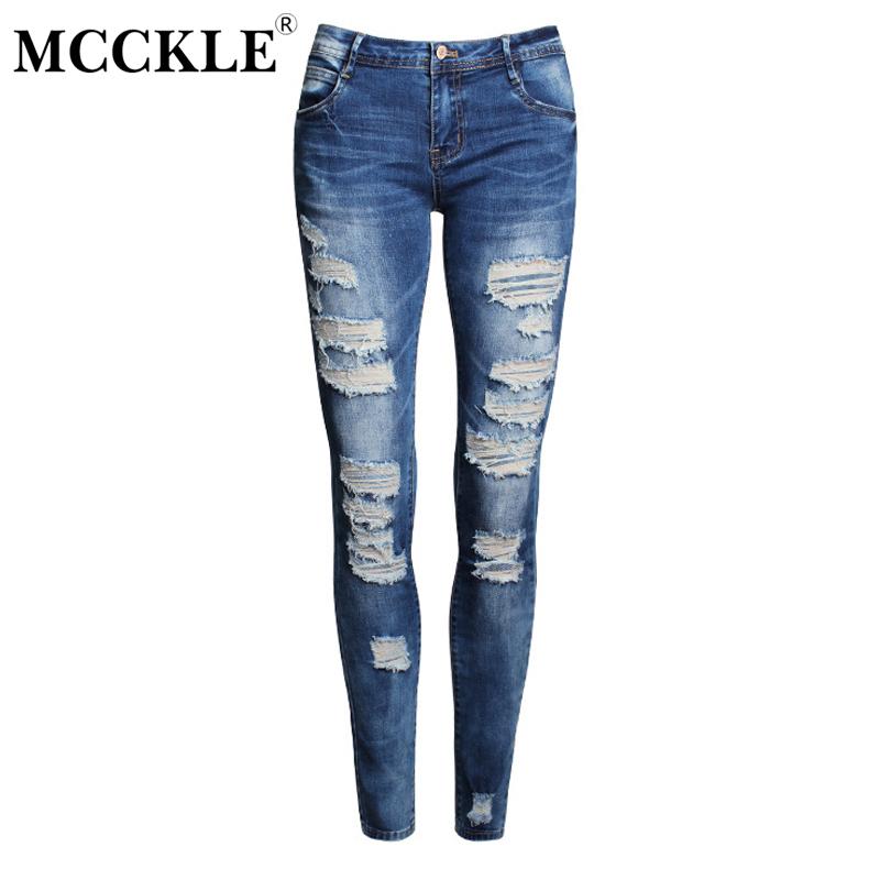 49eaf6997 Mcckle mujeres Celebrity style Blue low Rise ripped Denim jeans moda  estiramiento apenado lavado pantalones femeninos