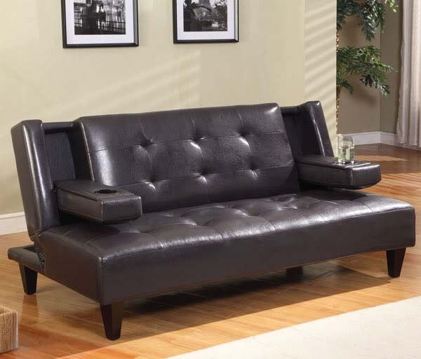 Wood feet hotel leather sleeper sofa with armrest cup-holders