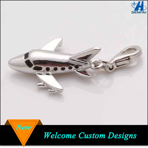New Products 2016 3D Airplane Charms Silver Enamel Airplane Charms