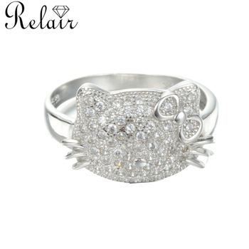 4ce4fe39c Good saling smart diamend 925 sterling silver ring hello kitty jewelry for  girl