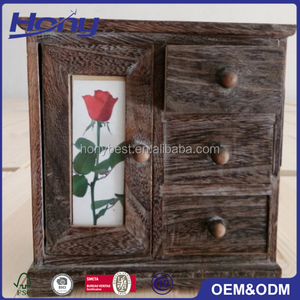 Dark Brown Small Solid Wood Jewelry Cabinet,Mini Framed Wood Jewel Cabinet