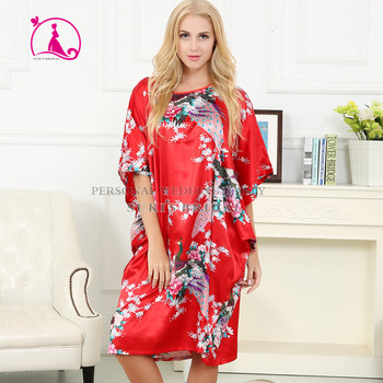 2135e59e80 Wanita sutra satin piyama lingerie pakaian tidur kimono gaun baju tidur  jubah panjang merah