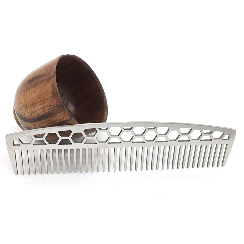 WB100-581 Men's Beard Styling Template Stainless <strong>Steel</strong> Beard <strong>Comb</strong> Wide Tooth Metal <strong>Hair</strong> <strong>Comb</strong>