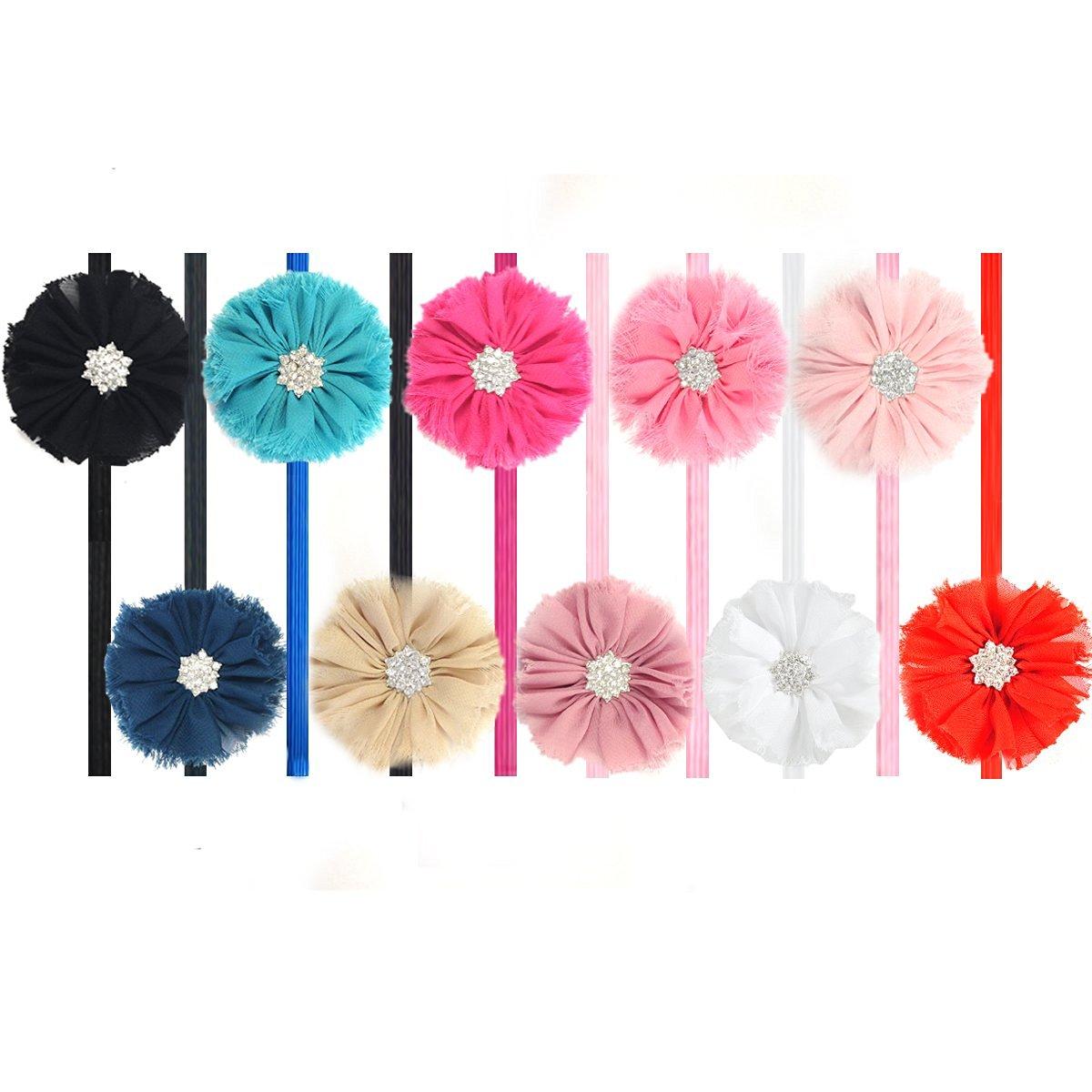 Kella Milla Set of 10 Chiffon Flower Headbands for Baby and Toddler Girls