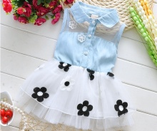 Free shipping 2016 Summer new baby dress Korean baby girl s flower dress kids cowboy Dress