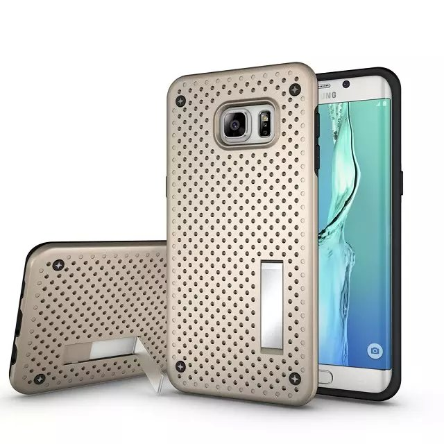 For Samsung s6 edge Plus Anti-Shock Head Radiation Function Back Stand Case Mesh Back Design TPU Rubber Cover Case MT-5022