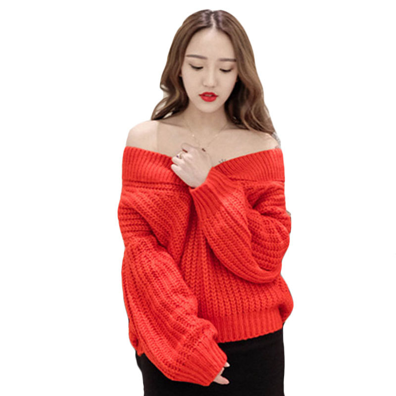 Autumn Oversized Sweater V Neck Long Sleeve Wrap Sexy Sweater Winter Women Sweater and Pullover Red Off Shoulder Sweater A1031