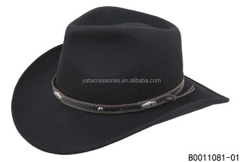 Men Black Color 100 Wool Felt Cowboy Hat With Matching Band Trimming Buy Men Hat Cowboy Hat Wool Felt Hat Product On Alibaba Com