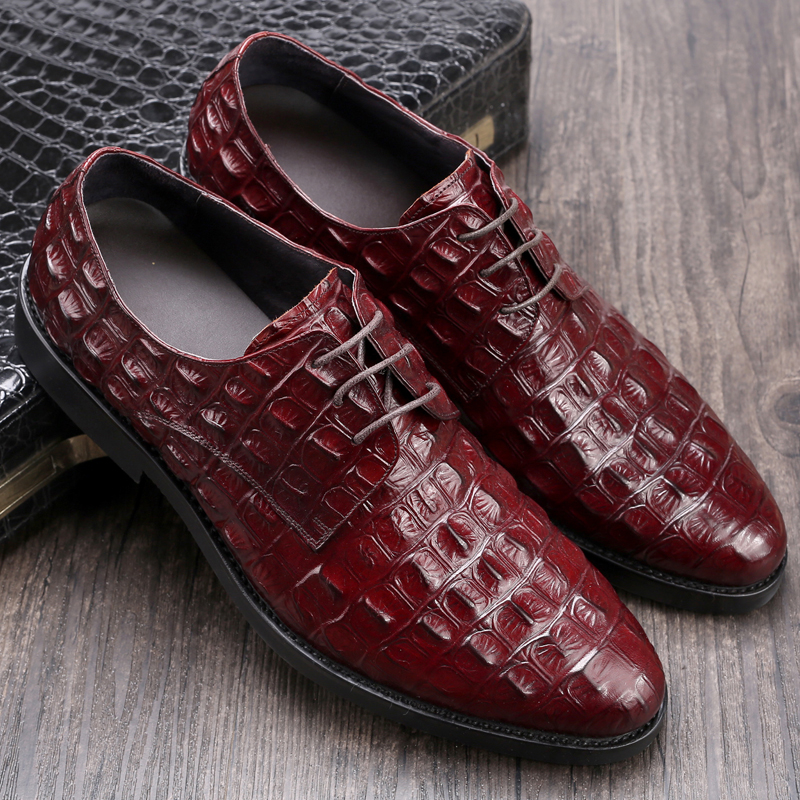 Good quality oxford brogue fashion crocodile genuine leather custom mens dress shoes