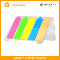 Onzing good quality arrow&strip-type shaped sticky notes with pet