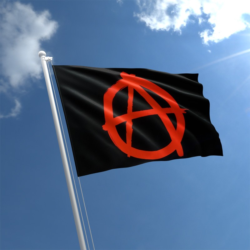 5/' x 3/' Anarchy Flag Punk Anarchist Anarchism Festival Black /& Red Banner