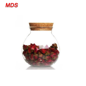 Heat resistant clear glass tea jar with cork lid