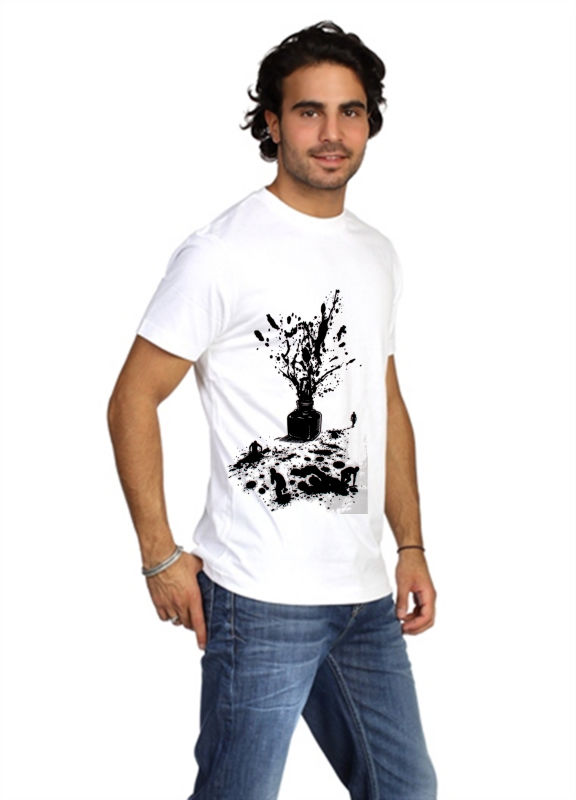 Street Art Graphic Design Mens Printed T-shirt - Ink Splat