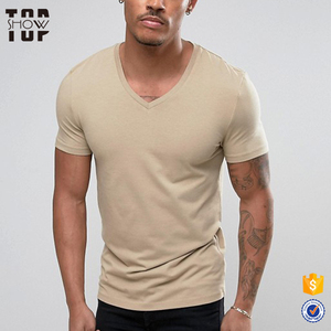 OEM t shirts with company logo wholesale bulk blank v neck t-shirts men