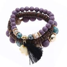 Женский этнический браслет с бусинами в богемном стиле, многослойный браслет в богемном стиле с кисточками, подарок для девочки, 2019(Китай)