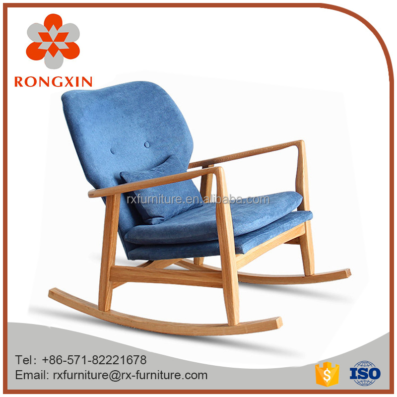 soft wood upholstered fabric rocking chair