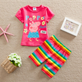 New 2016 High Quality Summer Baby Girls peppa pig Clothes Sports Suit Short Sleeve T shirt