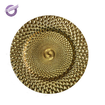 gold christmas cheap bulk elegant plastic wedding charger plates
