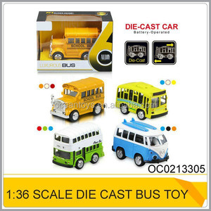 1:36 Die cast toy car Battery operated pull back metal toy bus OC0213305