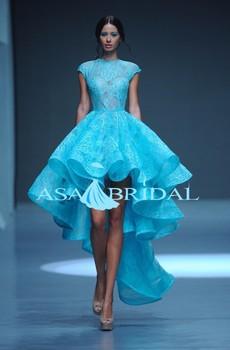 Elegant Navy Blue Formal Dress Short Front Back Long Tail Cap Sleeve Evening Gowns Gelinlik Evening Dress 2015even 3888 Buy Blue Evening