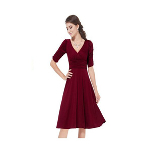 Elegant casual mini dress designs ankle length half sleeve red chiffon dress