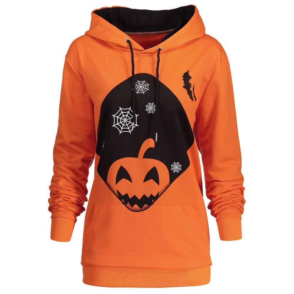 Women 2018 Halloween Hoodie Sweatshirt Cuekondy Long Sleeve Pumpkin Printed Drawstring Pocket Hooded Pullover Jumper