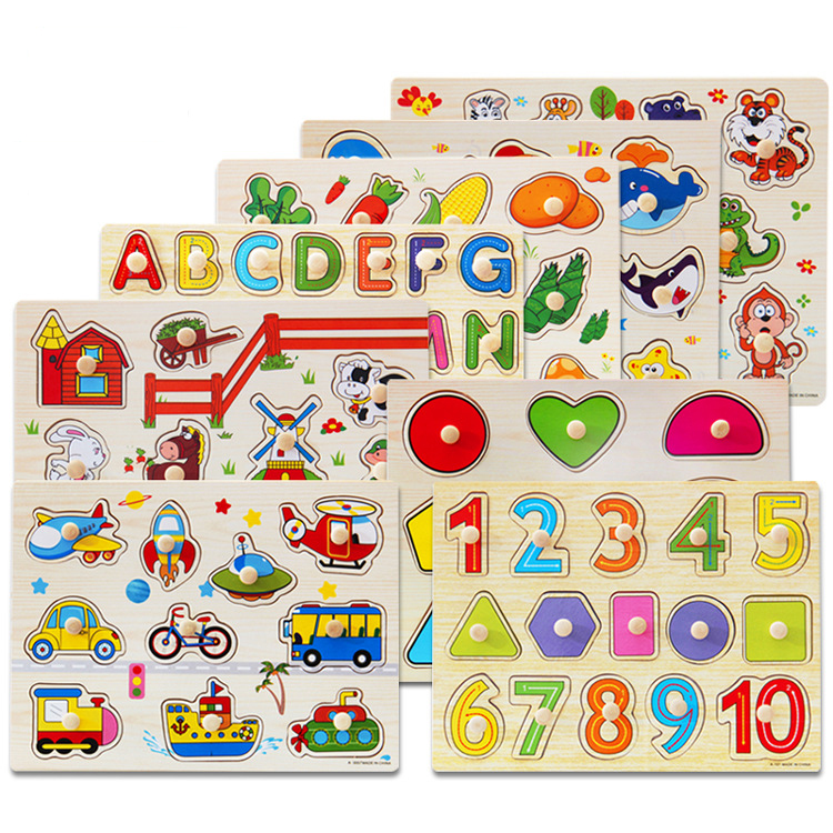 30cm Kid Early educational toys baby hand grasp wooden puzzle toy alphabet and digit learning education child wood jigsaw toy