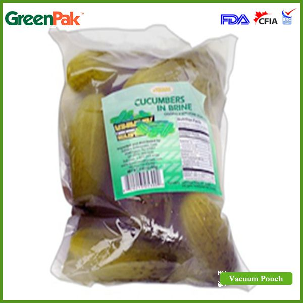 High barrier vacuum pouch for pickled cucumber