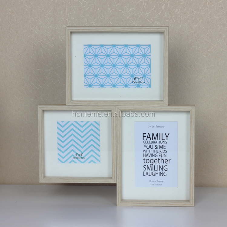 3 windows wood combination wall shadow box photo frame