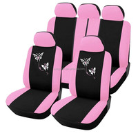 9 Pieces Full set Lovely Pink car seat covers with butterfly embroidery popular with girl