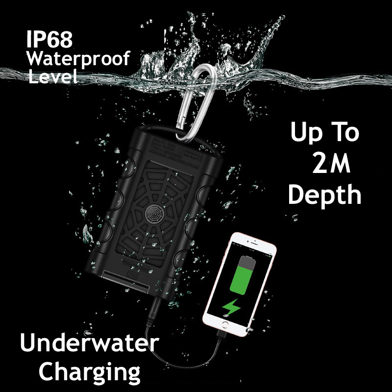 New in Outdoor Underwater IP68 12000mAh Power Bank With QC3.0 Quick Charge Waterproof 2 USB Ports Plus Dual LED Lights