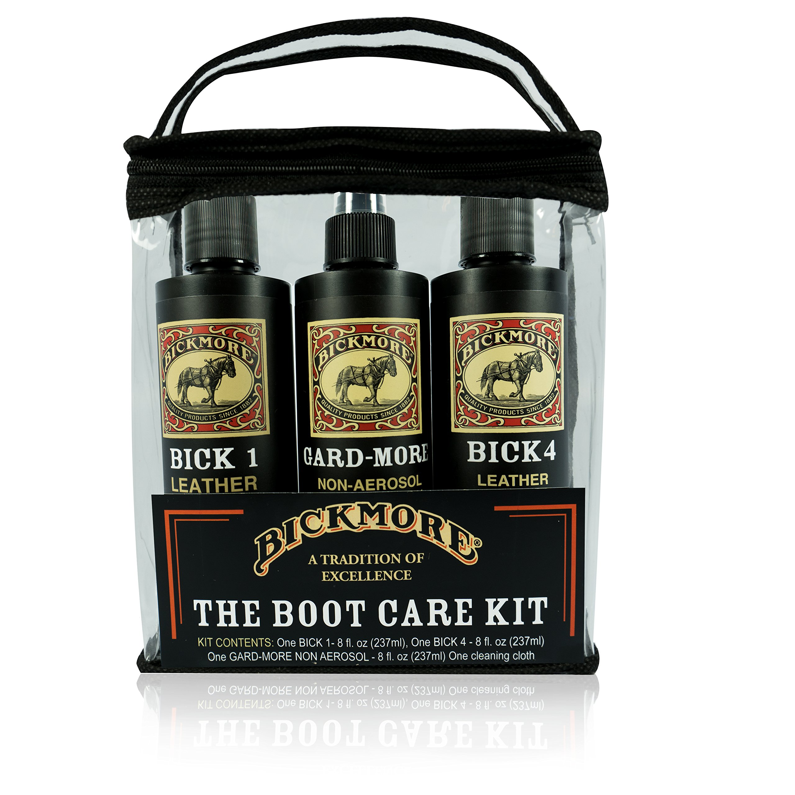 Bickmore Leather Conditioner Kit - Leather Cleaner Conditioner & Protector - Bick 1 Bick 4 & Gard-More - For Cleaning Softening and Protecting Boots Shoes Handbags Purses Jackets and More